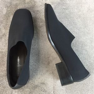 Donald J. Pliner Black Cloth and Leather Loafers